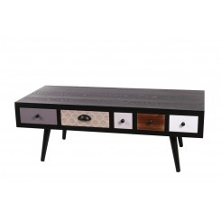 Table basse bois 5 tiroirs coulissants CALYPSO