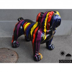 Chien bouledogue noir multicolores EMOTION