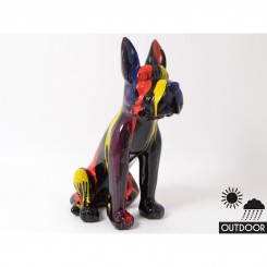 Chien assis Dogue Allemand noir multicolores EMOTION