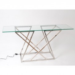Console LED verre et chrome FLASH 150 cm