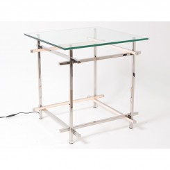 Table d'appoint LED verre et chrome FLASH 52 cm