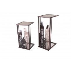 Set de 2 consoles industrielles ville buildings ART DE FER