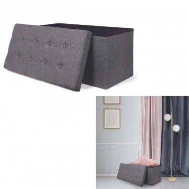 Coffre banc pliable tissu gris foncé