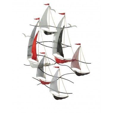 Régate 6 voiliers drapeaux mats