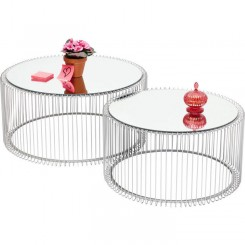 Set de 2 tables basses argenté et miroir Wire