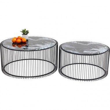 Set de 2 tables basses noires aspect marbre Wire