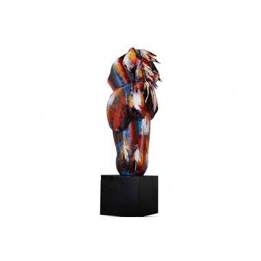 Statue tête de cheval multicolore métal PIGMENT