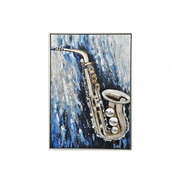 Saxophone métal fond bleu 100*70 encadrement alu GALLERY