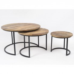 Set de 3 tables rondes ABISKO