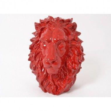 Statue à poser tête de lion rouge KING