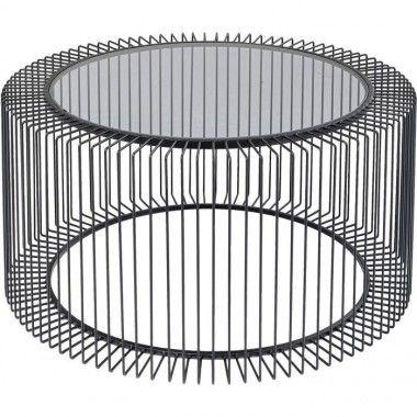 Table basse métal et verre 80cm