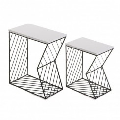 Set de 2 tables d'appoints plateau bois blanc