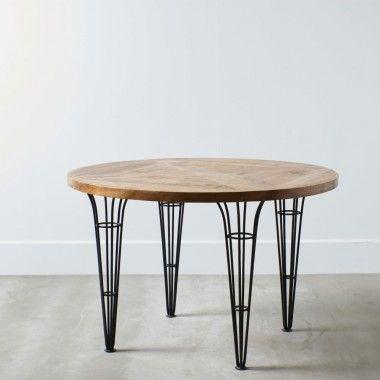 Table de bar carré bois naturel et pieds noir ESSENTIAL