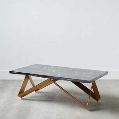 Table basse bois pétrifié vieux noir et or ETNIC