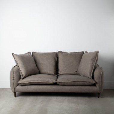 Canapé 2 places tissu gris foncé et 4 coussins 225cm