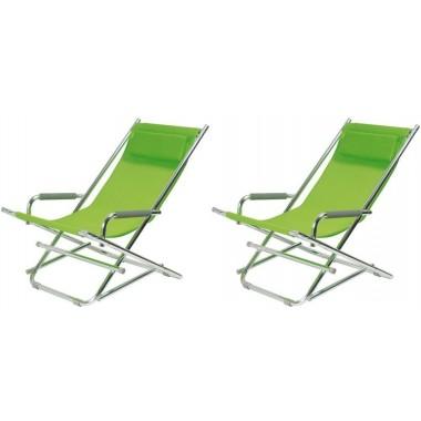 Lot de 2 Chaises longues pliantes vertes