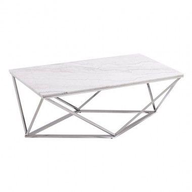 Table basse marbre et acier chromé COLLISION