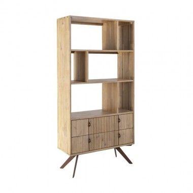 Bibliothèque en bois manguier et patchwork 3 portes Soleil