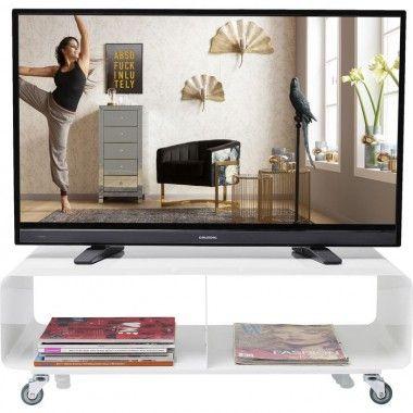Meuble TV design 2 portes laqué blanc Arc
