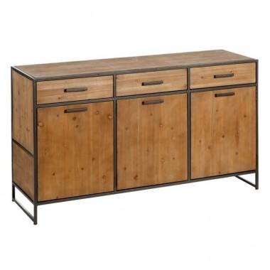 Buffet industriel 6 tiroirs bois et acier WOODLAND