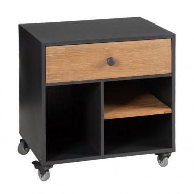 Meuble TV bois et métal noir avec rangements ABISKO