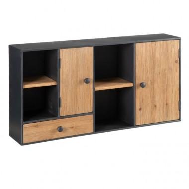 Meuble bois et métal noir 2 portes et 2 tiroirs ABISKO