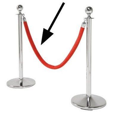 Corde VIP rouge pour poteau chromé