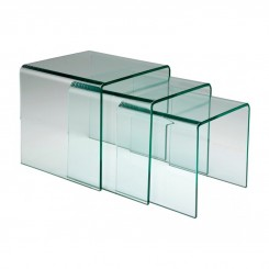 Table basse en verre avec tables d'appoint (3/set)