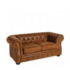 Canapé brun 3 places style Chesterfield