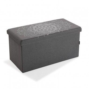 Coffre pouf pliable tissu gris foncé POP