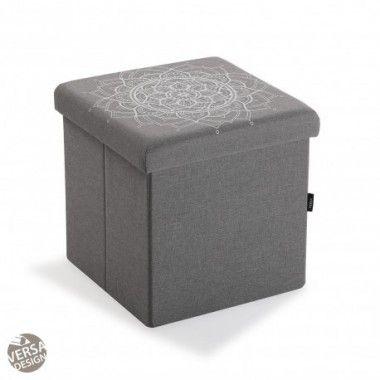 Coffre de rangement pliable gris MANDALA