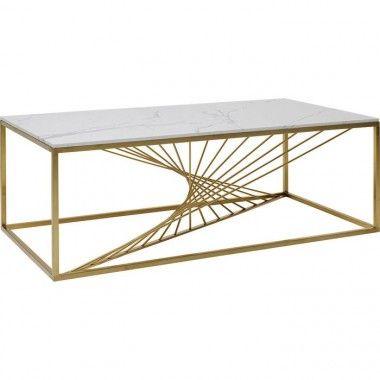 Table basse verre et métal doré LASER