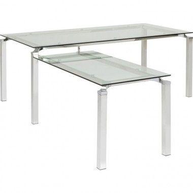 Table de bureau verre et acier chromé LORENCO