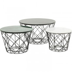 Set de 3 tables basses multicolores en acier La Costa Wire