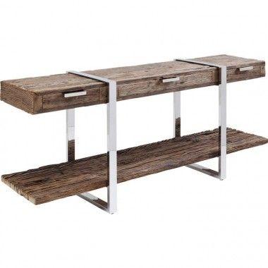 Table à manger industrielle bois et acier 200 RUSTICO