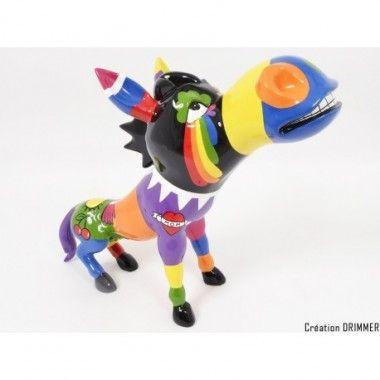 Statue chien lignes multicolores ILLUSION