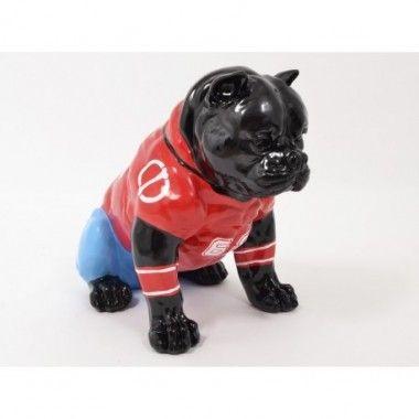 Statue chien noir coloré 41cm FUNNY