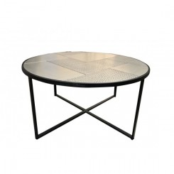 Table basse noir mat plateau en verre SMOOTH XL