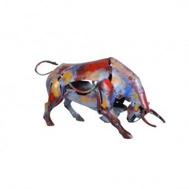 Statue taureau multicolore métal PIGMENT