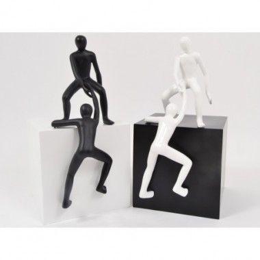 Statue femme assise noir mat sur socle blanc CLASSY