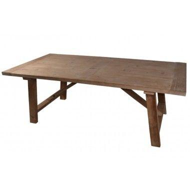 Table à manger bois naturel et pieds X 240cm ESSENTIAL
