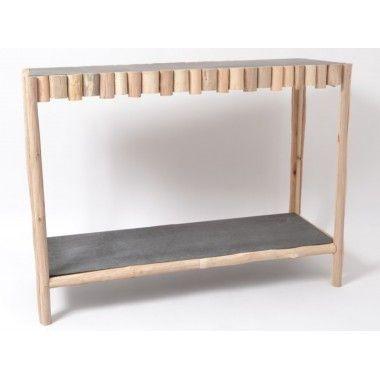 Console rectangulaire bois flotté et plateau verre TOUNDRA