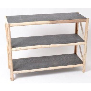 Console rectangulaire bois flotté et plateau zinc antique HARDELOT