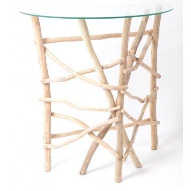 Console bois flotté blanc et plateau verre QUINTON