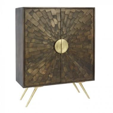 Commode bois naturel et détails métal or ORO