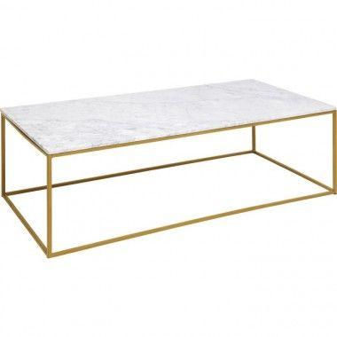 Table basse marbre et métal doré LASER