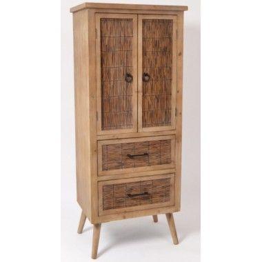 Meuble haut bois rustique 3 tiroirs et 2 portes MANILLE