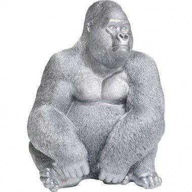 Statue gorille argent INITIAL