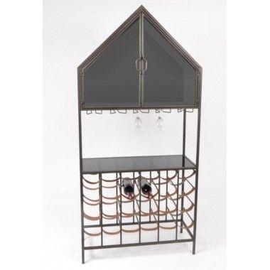 Etagère porte bouteilles métal noir forme maison 170cm LENNY