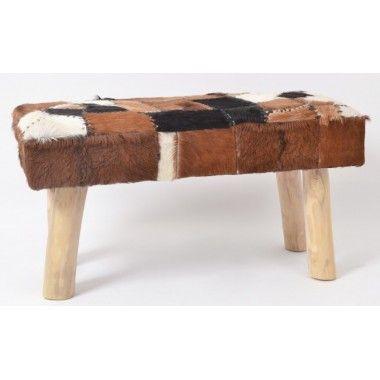Banc patchwork fausse fourrure et bois naturel 80cm ALPAGES